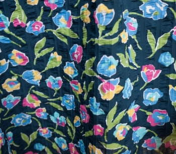 PRINTED SEERSUCKER FLOWERS 4712 blue m..