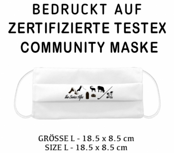PRINTED TESTEX TESTED COMMUNITY MASK - SIZE L white - SWISSALPS