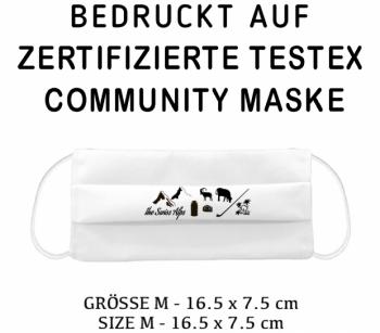 PRINTED TESTEX TESTED - COMMUNITY MASK - SIZE M white - SWISSALPS