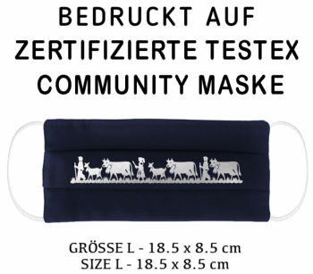 PRINTED TESTEX TESTED COMMUNITY MASK - SIZE L navy - ALPAUFZUG