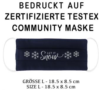 BEDRUCKTE ZERTIFIZIERTE TESTEX - COMMUNITY MASKE - GRÖSSE L Navy