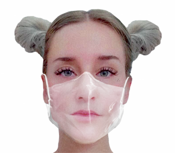 Transparent mask with certified HeiQ protection layer M white