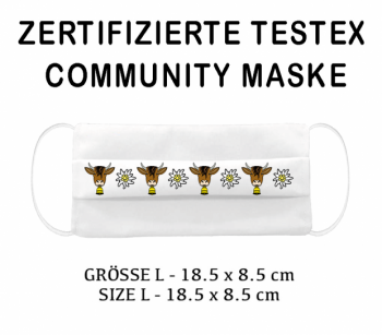 PRINTED TESTEX TESTED COMMUNITY MASK - SIZE L cow