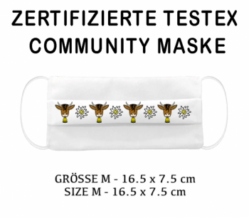 PRINTED TESTEX TESTED - COMMUNITY MASK - SIZE M cow