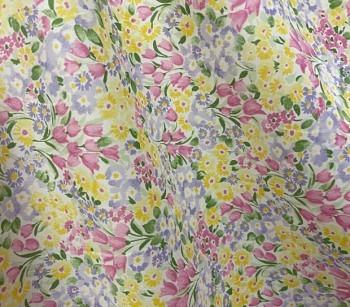 Baumwoll Lawn bedruckt 23151 gelb-lila-pink